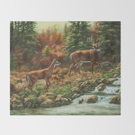 Deer and Waterfall Throw Blanket