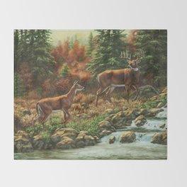 Whitetil Deer Doe & Buck by Waterfall Throw Blanket