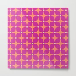 Mid Century Modern Star Pattern 143 Magenta and Orange Metal Print