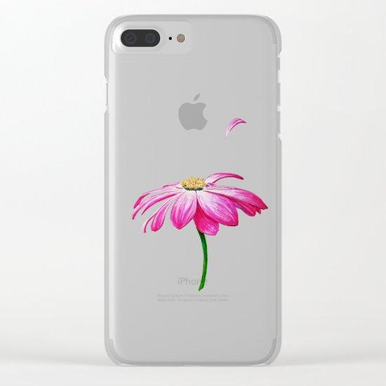 crimson flower petal and flown away Clear iPhone Case