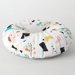 Mixed Mess I. / Collage, Terrazzo, Colorful Floor Pillow