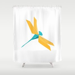 Origami Dragonfly Shower Curtain