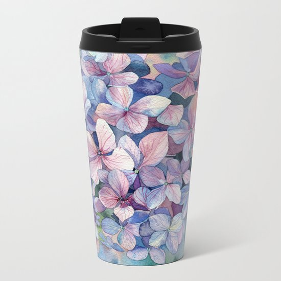 Hydrangea Metal Travel Mug
