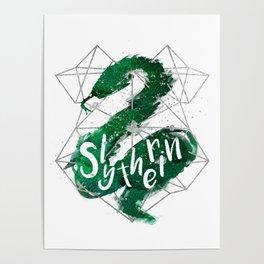 Slytherin Silver Splatter Poster