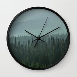 Misty Pine Trees Photography, Forest Mountain Landscape Photography Wall Clock