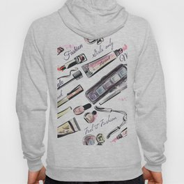 Fashion pattern with cosmetic in watercolor style Hoody