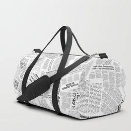 Newspaper Print Duffle Bag