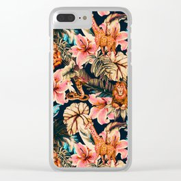 Wild animals in the dark of the jungle 2 Clear iPhone Case