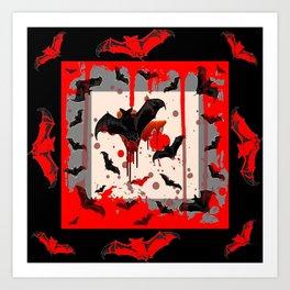 BLACK BATS & HALLOWEEN BLOODY ART DESIGNED Art Print