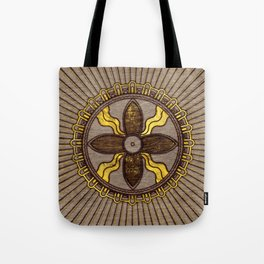 Seal of Shamash - Wood burned with gold accents Tote Bag