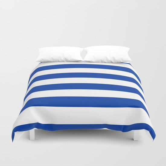 Dark Princess Blue and White Wide Horizontal Cabana Tent Stripe by honorandobey