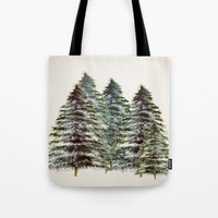 craftberrybush Tote Bags featuring Evergreen Tree Tapestry by craftberrybush