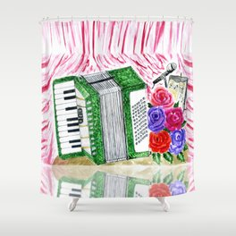 Accordion with roses Shower Curtain