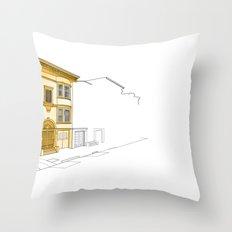 Yellow San Francisco Haus Throw Pillow