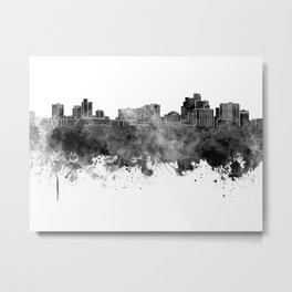 Reno skyline in black watercolor on white background Metal Print
