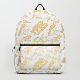Beautiful Golden Australian Native Floral Print Backpack