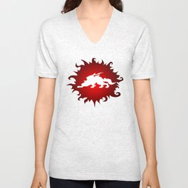 Amaterasu Logo- White Unisex V-Neck