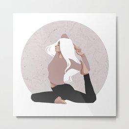 Yoga girl pink I Metal Print