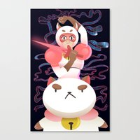 bee and puppycat Canvas Prints featuring Bee and Puppycat by Terry Blas