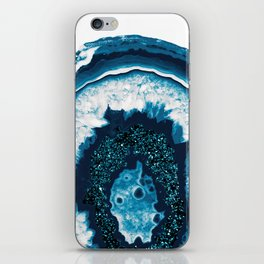 Blue White Agate with Blue Glitter #1 #gem #decor #art #society6 iPhone Skin