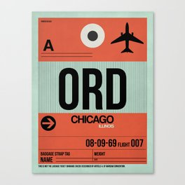 ORD Chicago Luggage Tag 2 Canvas Print