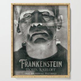 Frankenstein, vintage movie poster, Boris Karloff, horror film, Mary Shelley book cover Serving Tray
