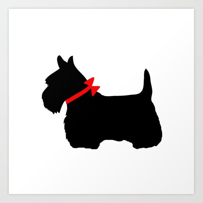 Scottie Dog with Red Bow Kunstdrucke
