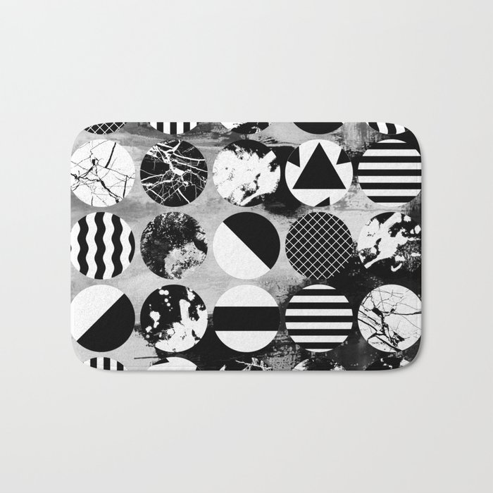 Eclectic Circles - Black and white, abstract, geometric, textured designs Bath Mat