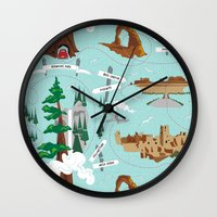 parks and recreation Wall Clocks featuring National Parks by Julie's Fabrics & Thingummies