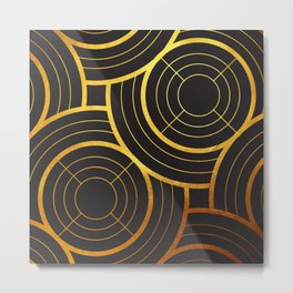 Art Deco Round And Round In Black Metal Print