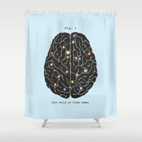 brain Shower Curtains featuring Your Brain On Video Games by Terry Fan