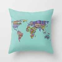 decal Throw Pillows featuring Overdose World by Bianca Green