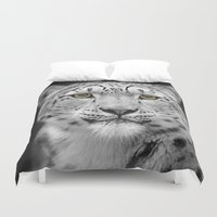 snow leopard Duvet Covers featuring Snow Leopard by Linsey Williams Art