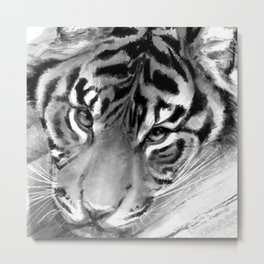 Tiger - Black and White Metal Print