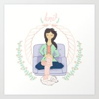 knit Art Prints featuring Knit by Boergers