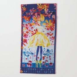 Une fille et flamants bleus Beach Towel