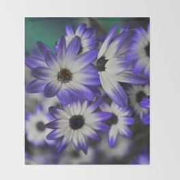 Blue & White Daisy Flowers #1 #floral #decor #art #society6 Throw Blanket