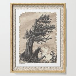 ANCIENT JUNIPER WINDSWEPT MOUNTAIN PEN AND PENCIL DRAWING Serving Tray