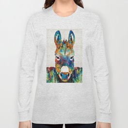 Colorful Donkey Art - Mr. Personality - By Sharon Cummings Long Sleeve T-shirt
