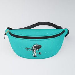 Black and White Modern Abstract Ornate Scroll on Aqua Blue Fanny Pack