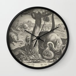 Elephant in battle with snake, Karel van Mallery (attributed to), after Jan van der Straet, after 15 Wall Clock