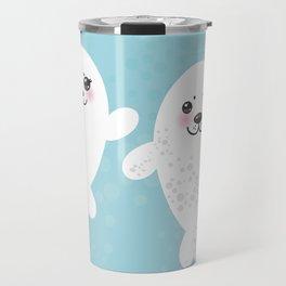 set Funny white fur seal pups, cute winking seals with pink cheeks and big eyes. Kawaii animal Travel Mug