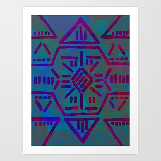Moonrise - Turquoise Art Print