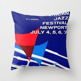 1957 Newport Jazz Festival Vintage Advertisement Poster Newport, Rhode Island Throw Pillow
