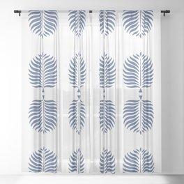 TROPICAL PALMS . WHITE + BLUE Sheer Curtain