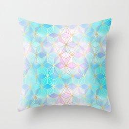 Iridescent Glass Geometric Pattern Throw Pillow