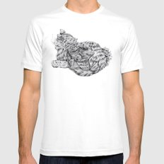 Pencil Cat White SMALL Mens Fitted Tee