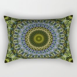 Olive and blue tones mandala Rectangular Pillow
