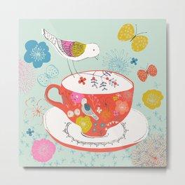 Bird and Teacup Metal Print