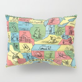 Nicknames of the States Vintage Map, 1884 Pillow Sham